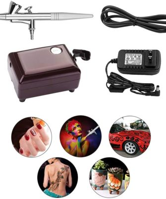 Airbrush Makeup Kit, Snefe Cosmetic Makeup Airbrush and Compressor System for Face Nail Painting Temporary Tattoos Cake Decorating (Purple) - 1