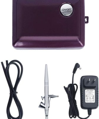 Airbrush Makeup Kit,Fy-light Cosmetic Makeup Airbrush Compressor With 0.4mm Needle Airbrush Spray Gun for Face, Nail, Temporary Tattoos, Cake Decorating,Modeling (Purple) - 1