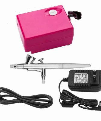 Airbrush Makeup Set Pinkiou Air Brush Kit for Face Paint with Mini Compressor 0.4mm Needle and Nozzle Nail Body Paint SP16 (RED) - 1