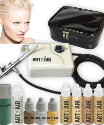 Art of Air FAIR Complexion Professional Airbrush Cosmetic Makeup System / 4pc Foundation Set with Blush, Bronzer, Shimmer and Primer Makeup Airbrush Kit - 1