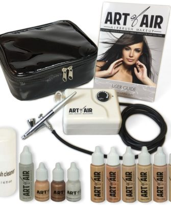 Art of Air Professional Airbrush Cosmetic Makeup System-Fair to Medium Shades 6pc Foundation Set with Blush, Bronzer, Shimmer and Primer Makeup Airbrush Kit - 1