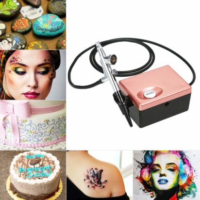 Blusea Airbrush System, Professional Art Beauty Face Painting Makeup Cosmetic Personal Starter Kit with Mini Air Compressor - 2