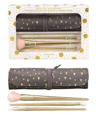 Folklore Makeup Brush Roll Bag With 3 Brushes, Brown and Gold - 1