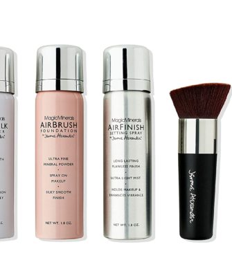 MagicMinerals Deluxe AirBrush Foundation Set by Jerome Alexander, 5 Piece Spray Foundation Kit, Light Medium - 1