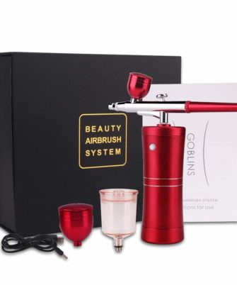 Spray Airbrush Set Facial Makeup Airbrush Oxygen Kit Rechargeable Spray Pen with Adjustable Button for Cake Deraction Coloring Model Nail Art Face SPA Tattoo (2 Kind of Capacity Cups) cenoz - 1