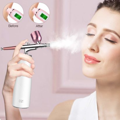 TGeng Airbrush Kit, Rechargeable Spray Gun Multi-purpose Airbrush Makeup Kit for Moisturizing Face Makeup Nail Tattoo Painting Cake Decoration Coloring Portable Airbrush Compressor with 3 Capacity Cup - 2