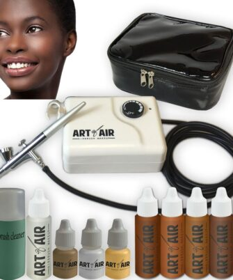 Art of Air DARK Complexion Professional Airbrush Cosmetic Makeup System 4pc Foundation Set with Blush, Bronzer, Shimmer and Primer Makeup Airbrush Kit - 1