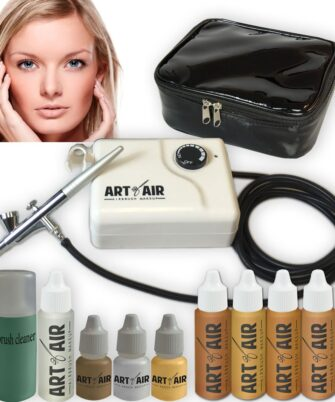 Art of Air MEDIUM Complexion Professional Airbrush Cosmetic Makeup System 4pc Foundation Set with Blush, Bronzer, Shimmer and Primer Makeup Airbrush Kit - 1