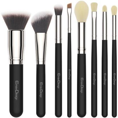EmaxDesign 8 Pieces Makeup Brush Set Face Eye Shadow Eyeliner Foundation Blush Lip Makeup Brushes Powder Liquid Cream Cosmetics Blending Brush Tools (Silver Black) - 1