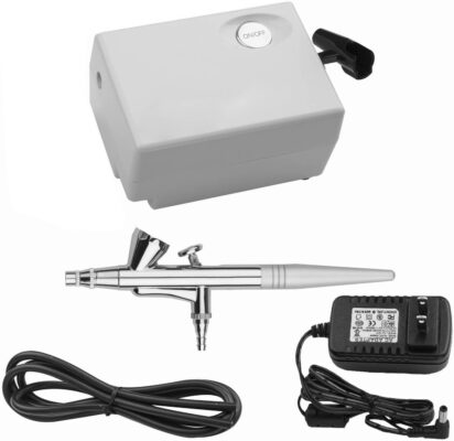 Yenny shop Airbrush Makeup Kit Beauty Special air Compressor White Suit, Cosmetic Makeup Airbrush and Compressor System for Face, Nail, Temporary Tattoos, Cake Decorating - 1
